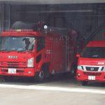 車窓より望む消防車