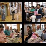 曲当てクイズでお手伝いする秋山さん、河又さんと見事曲名を当て商品を手にする参加者