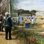 十王中学校(山尾城跡)にて、練習試合後の生徒を激励